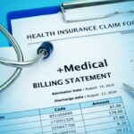 Healthcare cost concept with medical bill and health insurance claim form